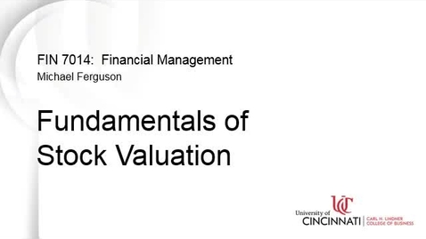 Thumbnail for entry Fundamentals of Stock Valuation