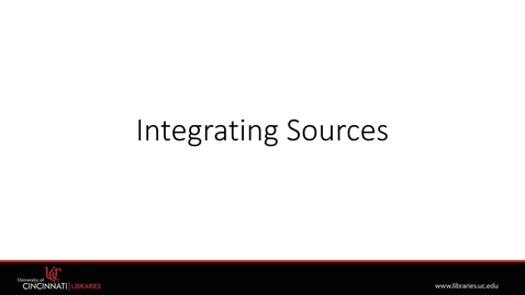 Thumbnail for entry Integrating Sources | Plagiarism Module