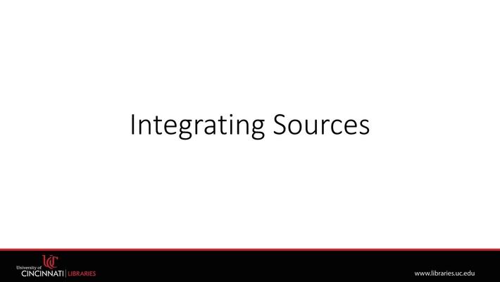 Integrating Sources | Plagiarism Module