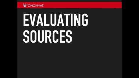 Thumbnail for entry Evaluating Sources
