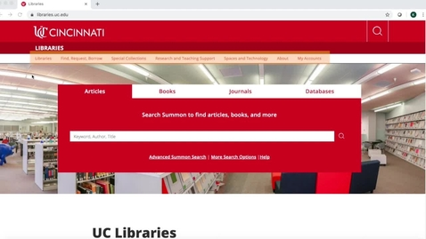 Thumbnail for entry Tour of UC Libraries Website