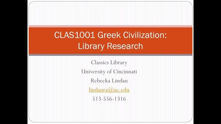 Library Research, CLAS 1001 Greek Civilization