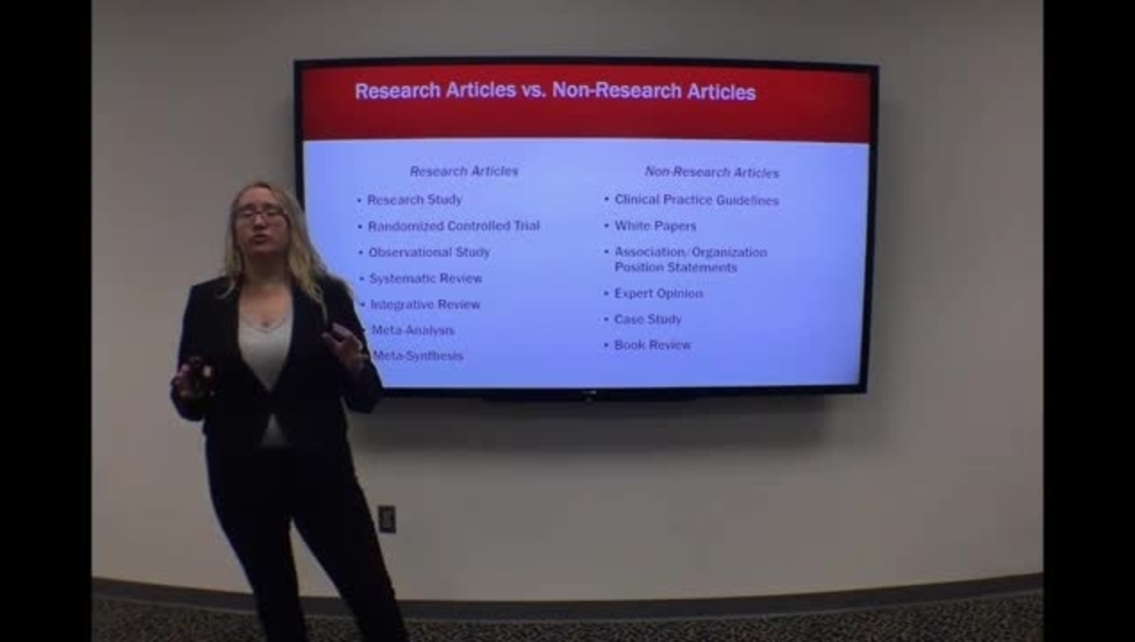 Research vs Non-Research  Articles - Clip from HSL Introduction to Literature Searching