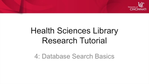 Thumbnail for entry Health Sciences Library Research Tutorial 4: Database Search Basics