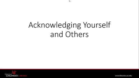 Thumbnail for entry Acknowledging Self+Others   Plagiarism Module