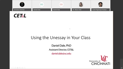 Thumbnail for entry Daniel Dale - Using the Unessay in Your Class | Thursday, 4/8