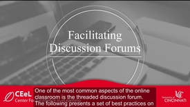 Thumbnail for entry Facilitating Online Discussion Forums