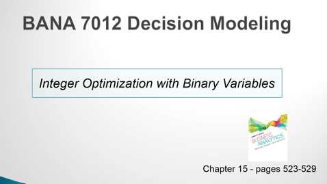 Thumbnail for entry Integer Optimization with Binary Variables