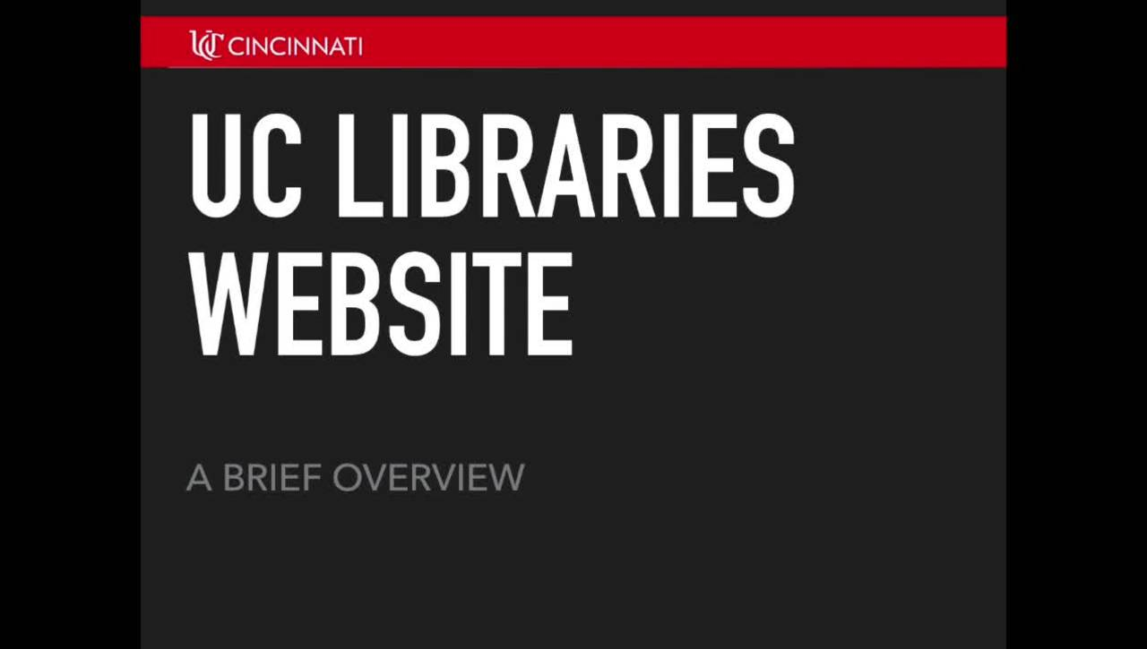 New UC Libraries Website Overview