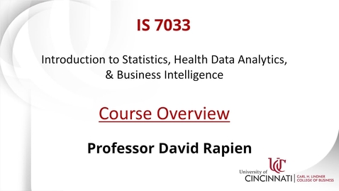 Thumbnail for entry IS 7033: Introduction to Statistics