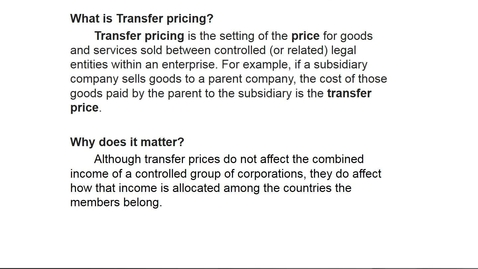 Thumbnail for entry What is Transfer Pricing?
