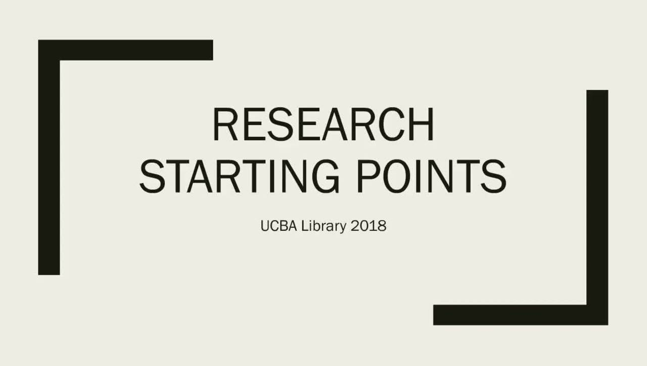 Research Starting Points 2018