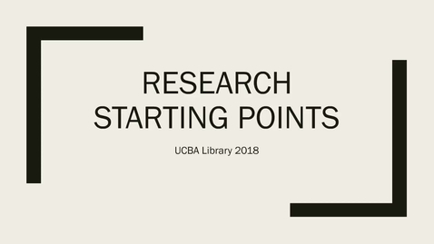 Thumbnail for entry Research Starting Points