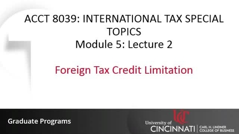 Thumbnail for entry Foreign Tax Credit Limitation