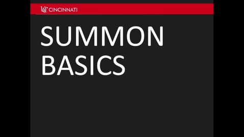 Thumbnail for entry Summon Basics