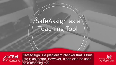 Thumbnail for entry SafeAssign as a Teaching Tool