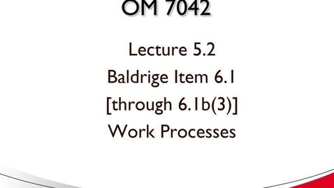 Thumbnail for entry OM 7042 Lecture 5.2 Baldrige Item 6.1