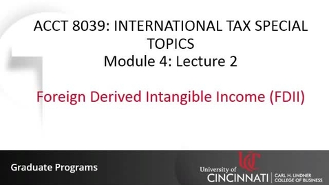 Thumbnail for entry Foreign Derived Intangible Income (FDII)
