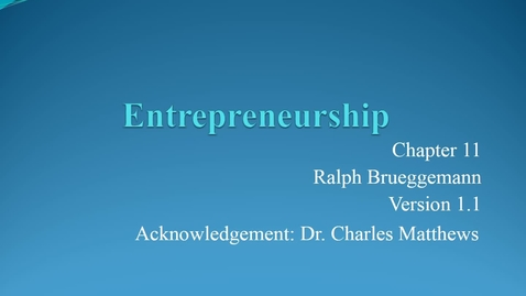 Thumbnail for entry Chapter 11 Entrepreneurship