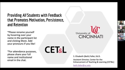 Thumbnail for entry Beth Faller - Providing All Students with Feedback that Promotes Motivation, Persistence, and Retention | Wednesday, 2/24