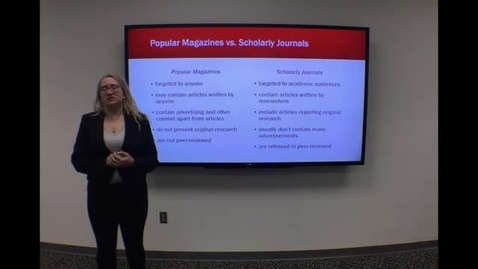 Thumbnail for entry Popular vs Scholarly Journals - Clip from HSL Introduction to Literature Searching