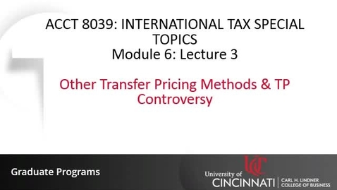 Thumbnail for entry Other Transfer Pricing Methods & TP Controversy