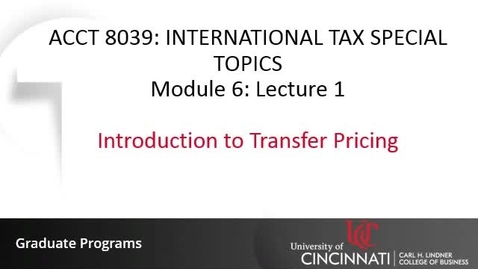 Thumbnail for entry Introduction to Transfer Pricing