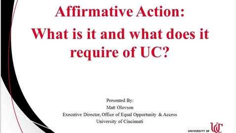 Thumbnail for entry Affirmative Action 11.28.16 Part 1 Success Factors Ask-the-Expert