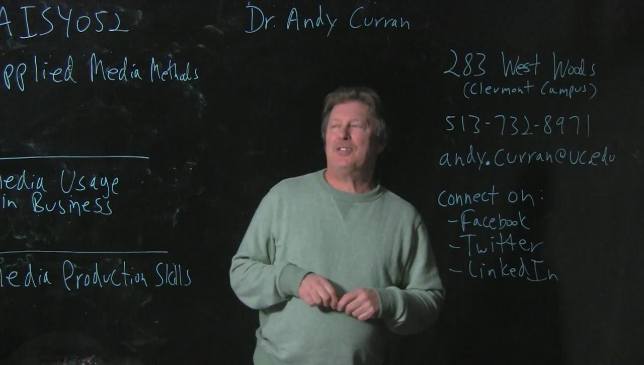 Professor Curran, UC Clermont College, Applied Media Methods