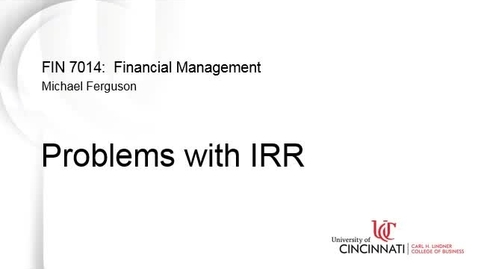 Thumbnail for entry Problems with Internal Rate of Return (IRR)