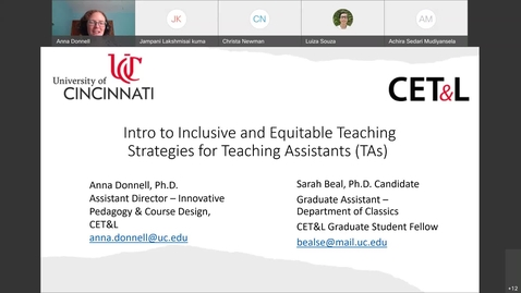 Thumbnail for entry Intro to Inclusive and Equitable Teaching Strategies for Teaching Assistants (TAs)