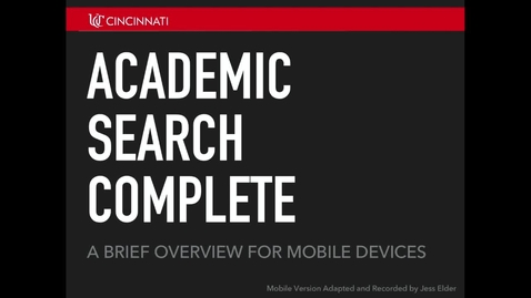 Thumbnail for entry Academic Search Complete for Mobile Devices