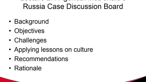 Thumbnail for entry McDonald's Russian Case Discussion Board