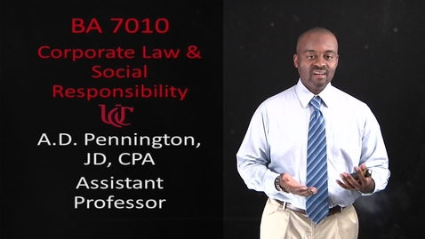 Thumbnail for entry BA 7010: Corporate Law and Social Responsibility
