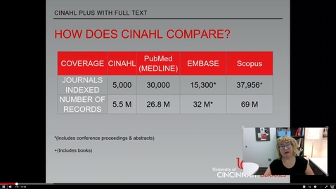 Thumbnail for entry How does CINAHL compare to other databases: Clip from CINAHL Plus with Full Text Workshop