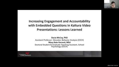 "Thumbnail for entry ""Increasing Engagement and Accountability with Embedded Questions in Kaltura Video Presentations: Lessons Learned"" - Dacia McCoy & Mary Kate Gerrard"