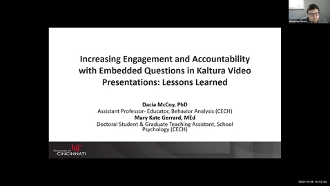 """Thumbnail for entry """"Increasing Engagement and Accountability with Embedded Questions in Kaltura Video Presentations: Lessons Learned"""" - Dacia McCoy & Mary Kate Gerrard"""