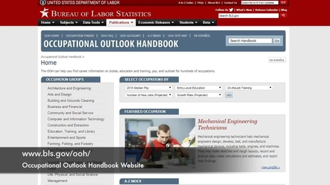 Thumbnail for entry Occupational Outlook Handbook