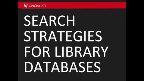Thumbnail for entry Search Strategies for Library Databases