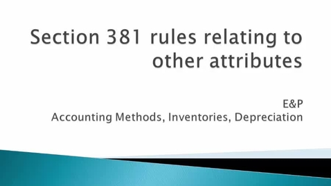 Thumbnail for entry Section 381 Impact on Other Attributes