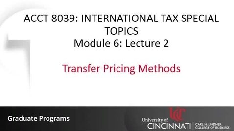 Thumbnail for entry Transfer Pricing Methods