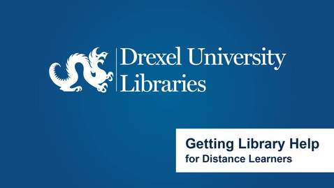 Thumbnail for entry Getting Library Help for Distance Learners