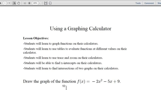 Lesson 38: Graphing Using a Graphing Calculator: Su18 MATH