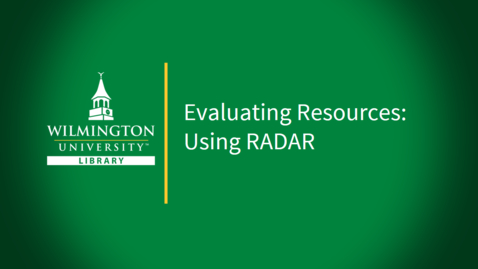Thumbnail for entry Evaluating Resources with RADAR