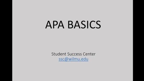 Thumbnail for entry APA Style Basics