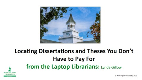 Thumbnail for entry Locating Dissertations & Theses (you don't have to pay For)
