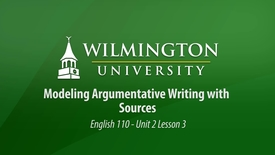 Thumbnail for entry English 110 Unit 2 Lesson 3: Modeling Argumentative Writing