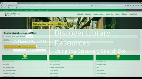 Thumbnail for entry Discover Library Resources at WilmU