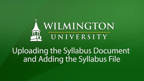 Thumbnail for entry Uploading the Syllabus Document