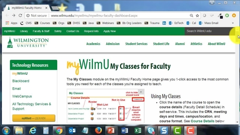 Thumbnail for entry How WilmU Faculty Access a Class Roster in the myWilmU Portal